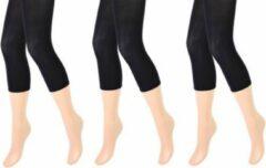 Merkloos / Sans marque 3 stuks Dames panty/legging - capri - 100 denier - zwart - maat S/M