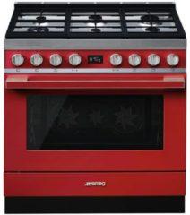 Smeg CPF9GMRNLK gasfornuis rood met 20 automatische programma's en 6 gas kookzones