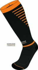Horizon Sport compressie kousen zwart/oranje Small (35-38) Kuit:28-36cm)