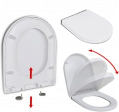 Witte VidaXL Toiletbril soft-close quick-release design wit vierkant