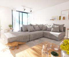 DELIFE Ecksofa Clovis Hellgrau Strukturstoff Hocker Ottomane Rechts Modulsofa, Design Ecksofas, Couch Loft, Modulsofa, modular