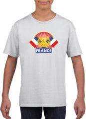 Witte Shoppartners Wit Frans kampioen t-shirt kinderen - Frankrijk supporter shirt jongens en meisjes M (134-140)