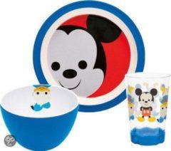 Blauwe Zak!Designs Zak! Designs Mickey Big Face Ontbijtset - 3-delig - Blauw