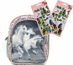 B&B Slagharen Rugtas Witte Paarden - Peuter Rugzak - 26cm - zilver glitter - Meisjes rugtas - schooltas - incl.gratis Paardenstickers