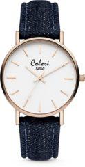 Colori XOXO 5 COL567 Horloge - Denim Band - Ø 36 mm - Donker Blauw / Rosékleurig