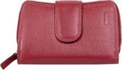 Portemonnee dames Mika leer met verschillende compartimenten, kleur rood JU-80022504