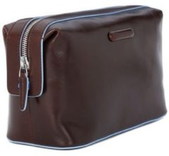 Bruine Piquadro Blue Square Beauty in Pelle Toiletry Bag Mahogany