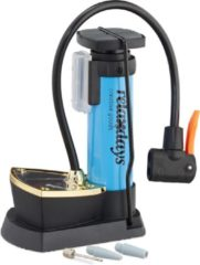 Relaxdays voetpomp manometer - luchtpomp - mini pomp - fietspomp - universeel - blauw