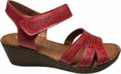 Manlisa dames velcro sandaal rood 38