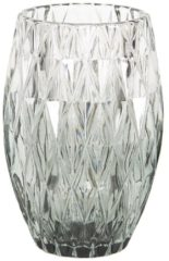 Clayre & Eef Glazen Theelichthouder 6GL2517 Ø 9*13 cm - Groen Glas Waxinelichthouder Windlichthouder