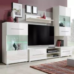 VidaXL Muurvitrine tv-meubel met LED-verlichting wit 5-delig