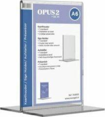 Transparante Kaarthouder T-standaard OPUS 2 A6 acryl - Tafelstandaard voor een representatieve tweezijdige presentatie - Geschikt als menu- of prijskaarthouder - Hoogwaardig glashelder acrylaat