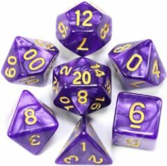 Ardran & Tookar Polydice set - dobbelstenen dungeons and dragons - DnD - RPG - Paars - 7 stuks