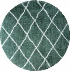 Veercarpets Vloerkleed Jeffie - ø120 cm - Rond - groen - Hoogpolig - Berber