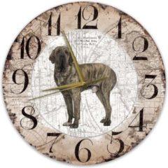 Bruine Creatief Art Houten Klok - 30cm - Hond - Fila Btasileiro
