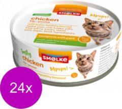 24x Smolke Soft Paté Kattenvoer Kip 80 gr