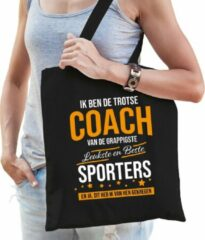 Bellatio Decorations Trotse coach van de beste sporters katoenen cadeau tas voor dames - zwart - verjaardag - kado cadeau tas voor coaches