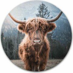 Bruine Ronde muursticker Schotse hooglander - WallCatcher | 100 cm behangsticker wandcirkel | Herpositioneerbare wandsticker muurcirkel Highlander