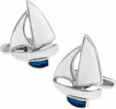 Trendy Gents Manchetknopen Zeilboot Zeilen Boot Sailing Marine Naval Nautical Zilverkleurig Zilverkleurig Wit Blauw