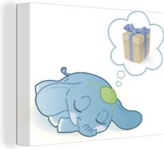 OneMillionCanvasses Een illustratie van een blauwe baby olifant die droomt canvas 40x30 cm - klein - Foto print op Canvas schilderij (Wanddecoratie woonkamer / slaapkamer) / Wilde dieren Canvas Schilderijen