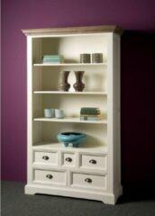 Grijze Tower Living Boekenkast Fleur wit met 5 laden en 4 open vakken | Grenen