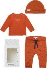 Oranje Noppies Giftset Unisex (3delig) Ginger Broek met stip, Muts en Hester - Maat 44