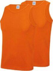 Awdis 2-Pack Maat M - Sport singlets/hemden oranje voor heren - Hardloopshirts/sportshirts - Sporten/hardlopen/fitness/bodybuilding - Sportkleding top oranje voor mannen