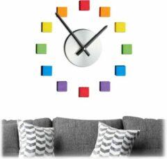Relaxdays wandklok 3D - stickers - DIY klok - kinderkamer klok muur - analoge klok - kleur