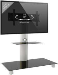 TV-Standfuß LED Ständer Fernseh Standfuss Alu Glas Universal 'Standol Zwischenboden' Universell VESA VCM Schwarzglas