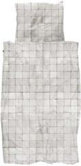 Witte Snurk Tiles Pearl White dekbedovertrekset van biologisch katoen 160TC - inclusief kussenslopen