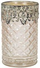 Clayre & Eef Glazen Theelichthouder 6GL2892 Ø 10*16 cm - Bruin Glas Waxinelichthouder Windlichthouder
