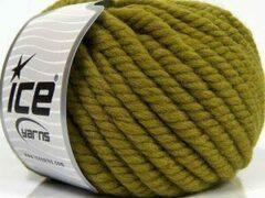 Ice yarns Wol breien met breinaalden maat 10 – 12 mm. – dikke jungle groene breiwol kopen pakket van 3 bollen garen 100 gram per bol 100% wol – breigaren van een fijne kwaliteit