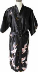 TA-HWA Kimono met Kraanvogels Zwart Dames Nachtmode kimono L
