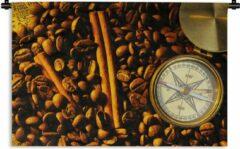 1001Tapestries Wandkleed Kompasroos - Kompasroos tussen koffiebonen en kaneelstokjes Wandkleed katoen 60x40 cm - Wandtapijt met foto
