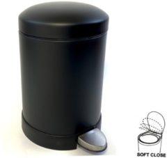Lucy's Living Luxe pedaalemmer zwart softclose - 5 L - Ø21 x 27 cm - badkamer - keuken - kantoor – slaapkamer