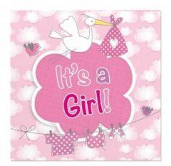 Folat 20x Geboorte meisje Babyshower servetten geboorte meisje roze 25 x 25 cm - Feest tafeldecoratie servetjes - Babyshower thema papieren tafeldecoraties