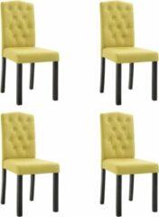 Merkloos / Sans marque Eetkamerstoelen met Knopen Stof Groen 4 STUKS / Eetkamer stoelen / Extra stoelen voor huiskamer / Dineerstoelen / Tafelstoelen / Barstoelen
