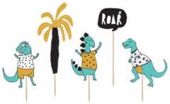 Groene Generik 5 kartonnen blauwe dinosaurus cake toppers - Feestdecoratievoorwerp