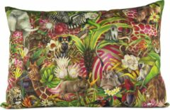 Blauwe African Jungle Full design Kussenhoes - WhimsicalCollection - Katoen 70 x 50 cm ritssluiting - Afrika - Jungle - Wilde dieren - Kleed jouw huis of tuin prachtig aan met deze kussenhoes. Gemaakt in Zuid Afrika - Kussen niet inbegrepen