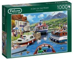 Zilveren Jumbo Falcon puzzel A Day On The River - Legpuzzel - 1000 stukjes