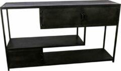 Antraciet-grijze Vtw Living Industriële kast van Metaal - Sidetable - Kast - Industrieel - Metaal - Dressoir - Sfeer - Luxe - 140 cm breed