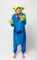 Blauwe KIMU Onesies KIMU Onesie Toy Story Alien kinder pak kostuum UFO - maat 128-134 - pyjama alienpak jumpsuit festival