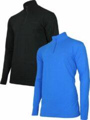 Campri ¼ Skipully (2-Pack) - Wintersportpully - Heren - Maat XL - Zwart/Cobalt