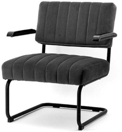 Afbeelding van By-Boo Operator Loungestoel - Grijs Fluweel - Zwart Metalen Sledeframe