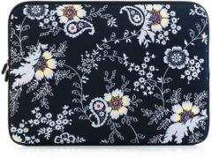 Gele Laptop sleeve tot 14 inch met bloemen – Lichtgeel/Lichtgrijs/Zwart