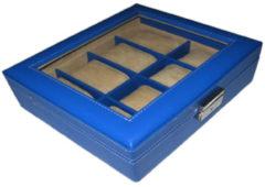 Benson Leder Horlogebox A4 Blauw