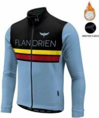 Lichtblauwe Merkloos / Sans marque Fleece wielertrui Flandrien lange mouwen maat Large