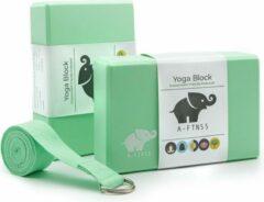A-FTNSS Yoga Blokken Set Mint Groen | EVA Foam | 2 Yoga Blokken (22.7x12x7.5 cm) + Gratis Yoga Riem