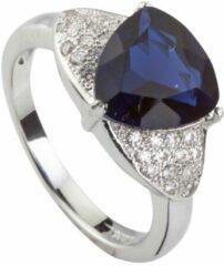 Brigada - ring met saffierblauwe triangel geslepen zirkonia steen - 925 sterling zilver - maat 18,5