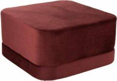 Bordeauxrode J-line Poef Vierkant Velvet Textiel Rood L 35 x 65 x 65